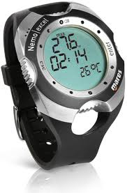 Watch that displays surface time , bottom time and depth.